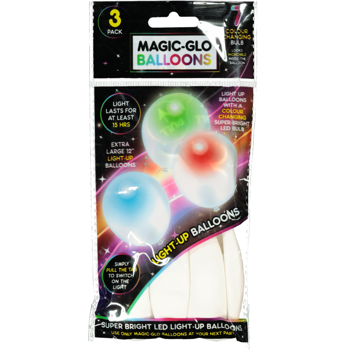 3PK WHITE LIGHT UP BALLOONS