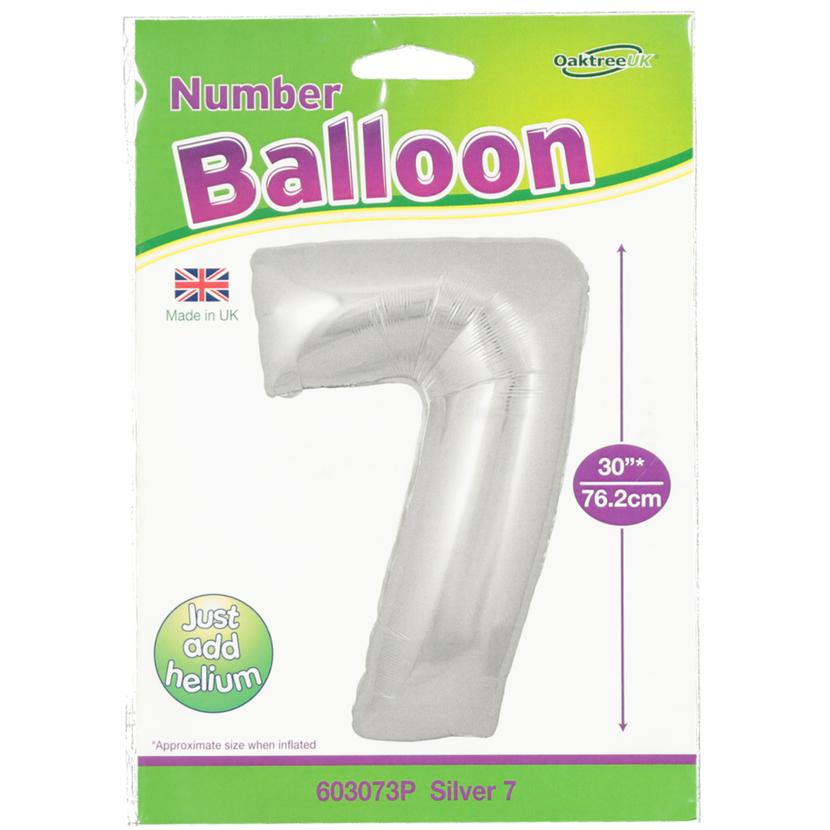 FOIL BALLOON NUMBER 7 SILVER