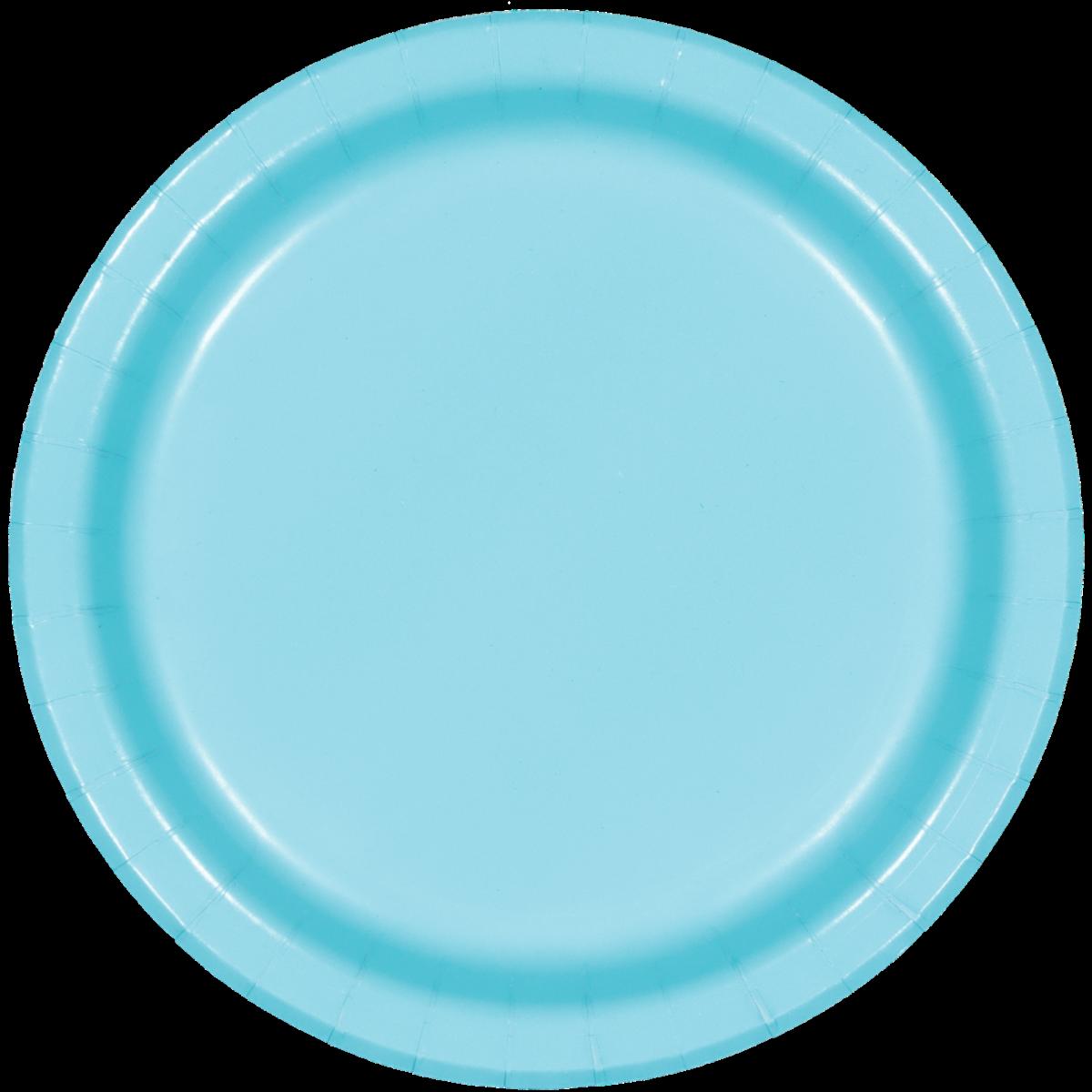 SOLID BERMUDA BLUE PLATES 8PCS