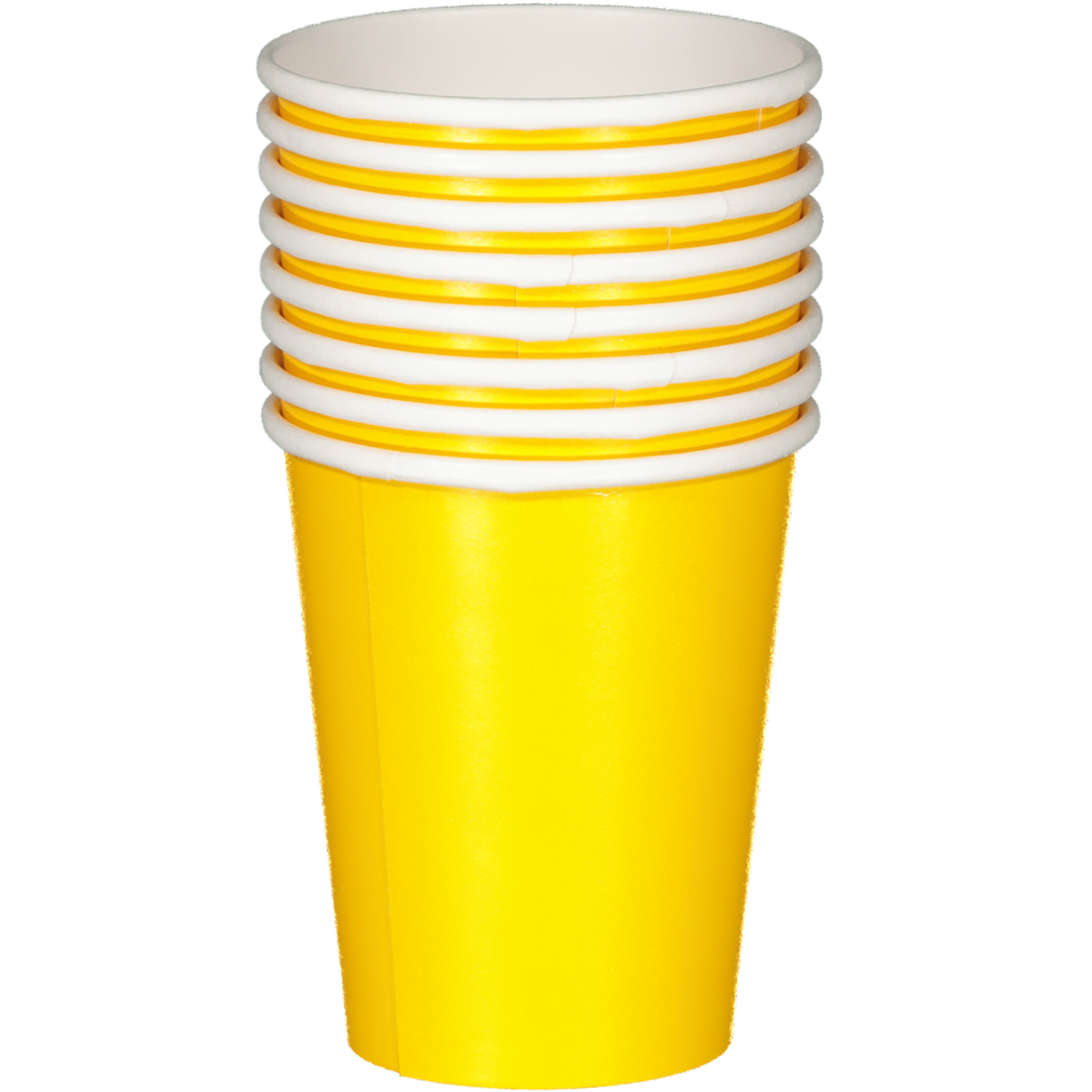 SOLID SCHOOL BUS YELLOW CUPS 8PCS
