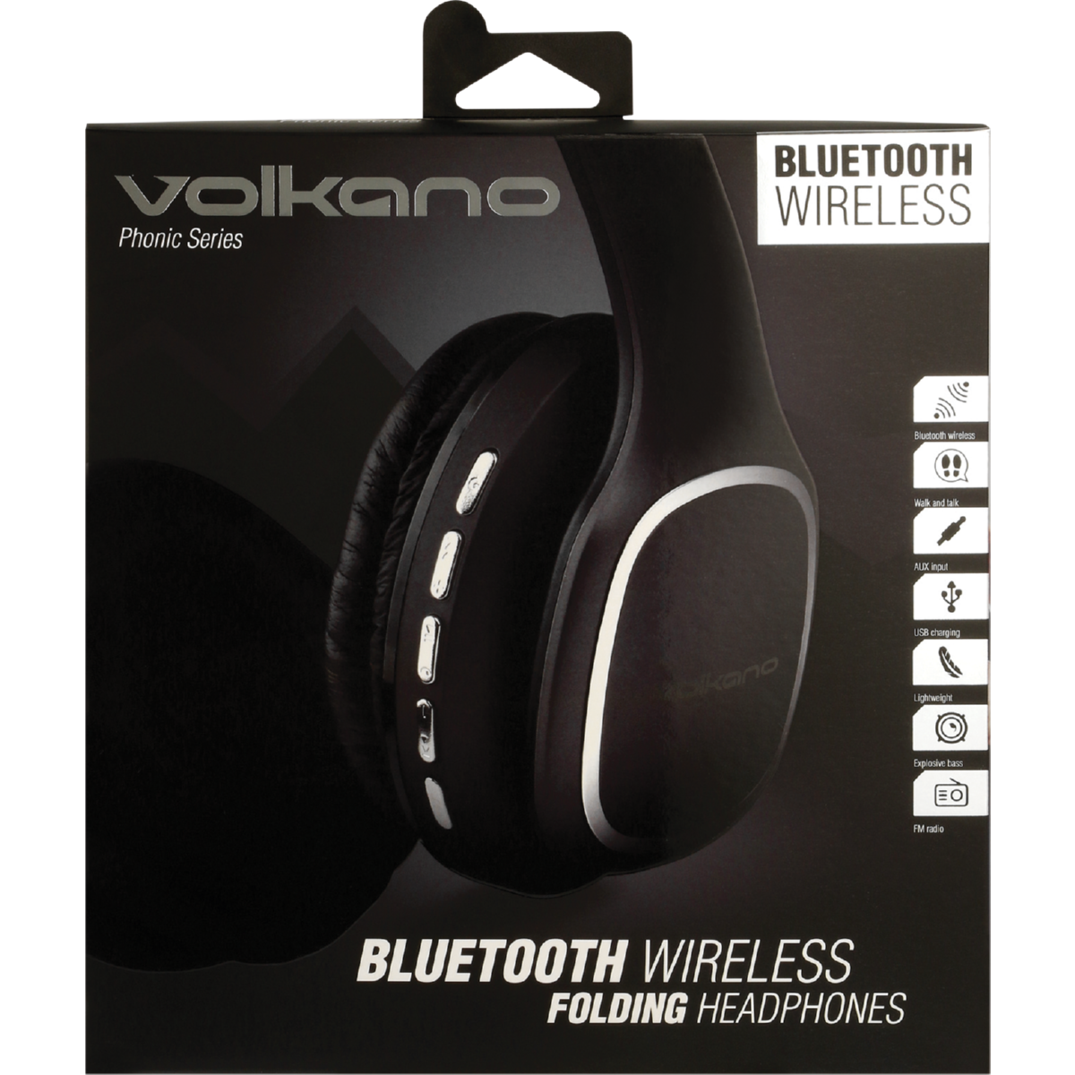 VOLKANO BLK PHONIC SERIES BT SIZE HEADPHONES