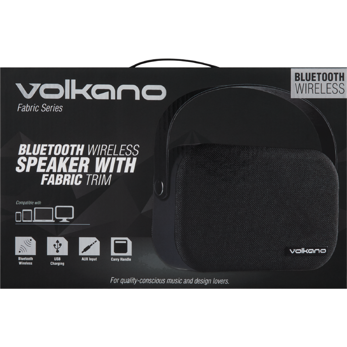 VOLKANO FABRIC BLUETOOTH SPEAKER BLACK