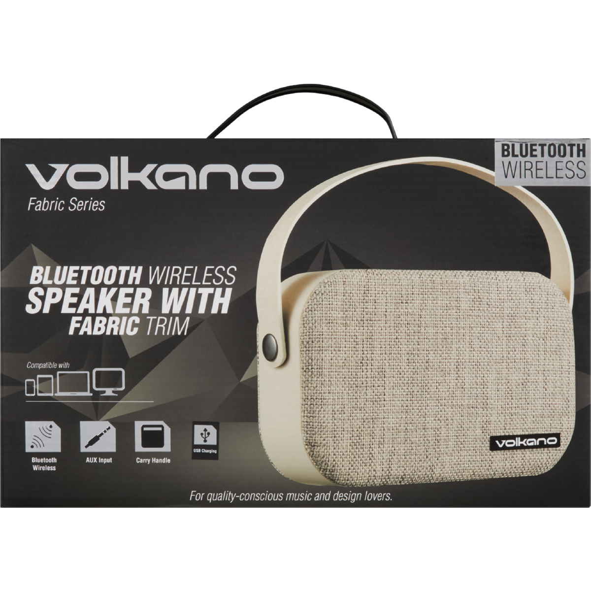 VOLKANO FABRIC BLUETOOTH SPEAKER LIGHT GREY