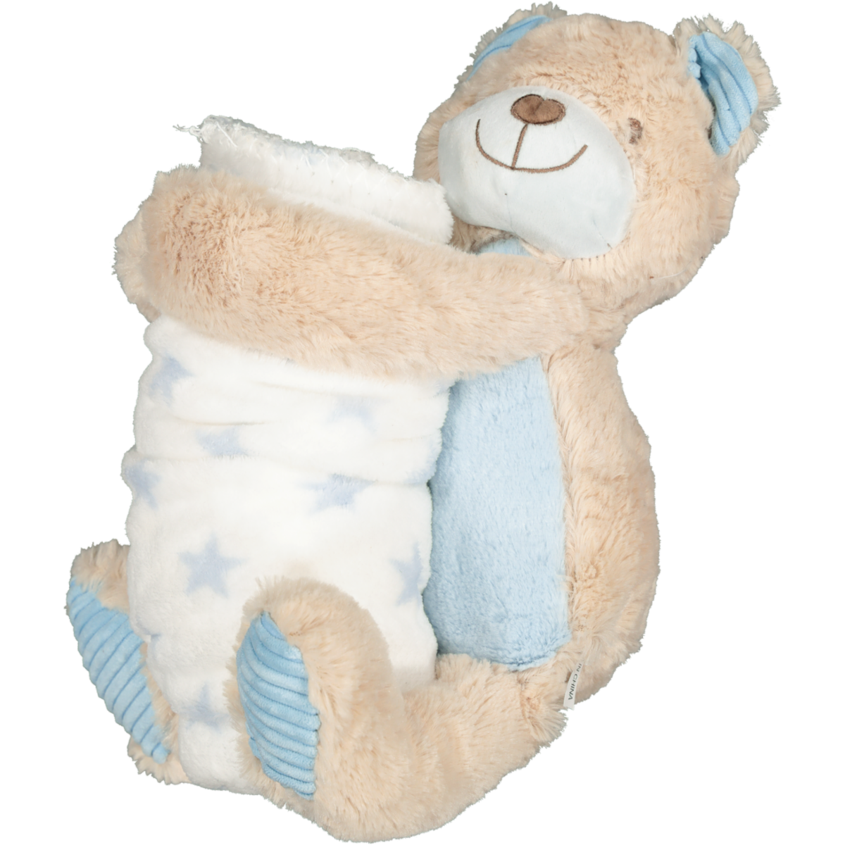 PLUSH ANIMAL WITH BLANKET BLUE