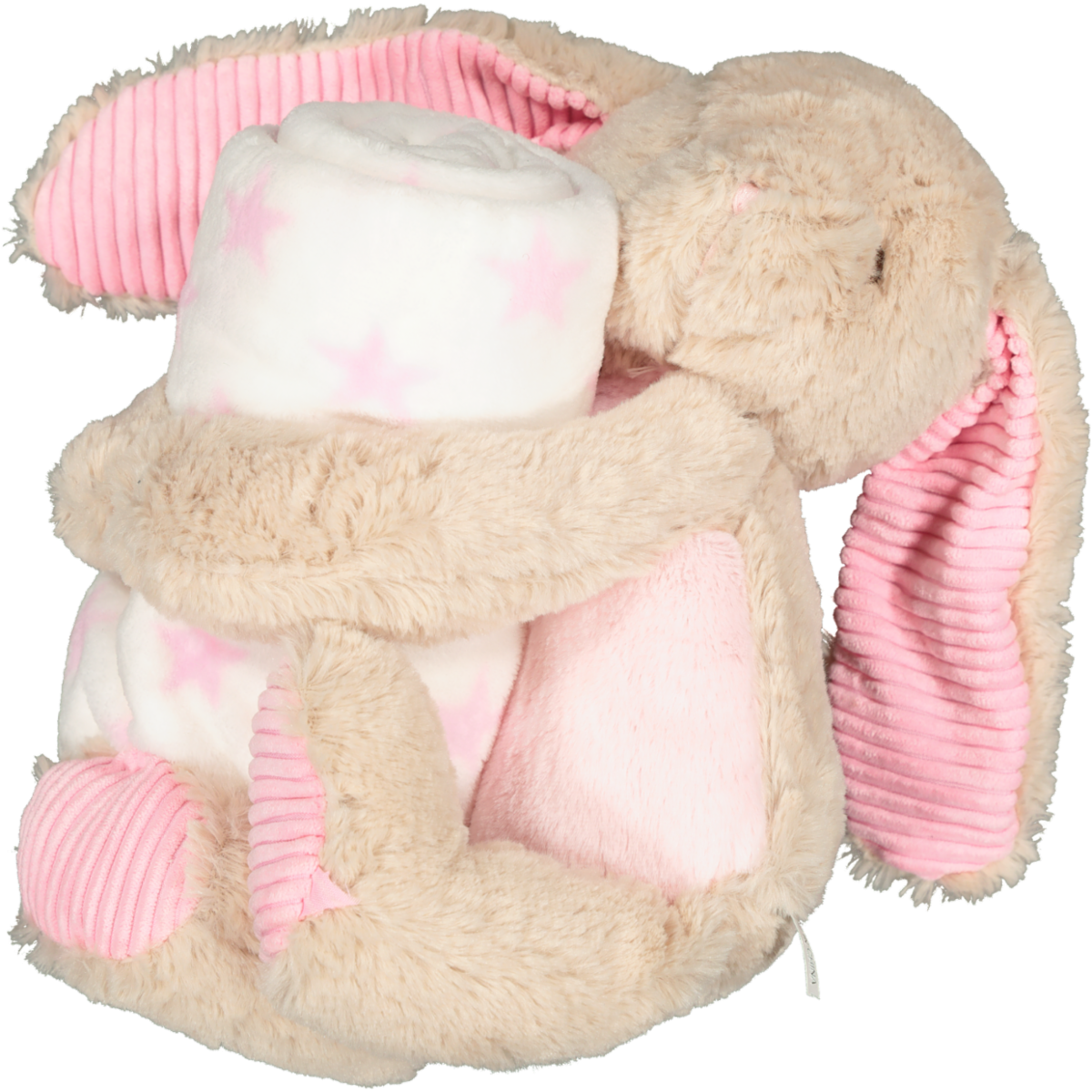 PLUSH ANIMAL WITH BLANKET PINK