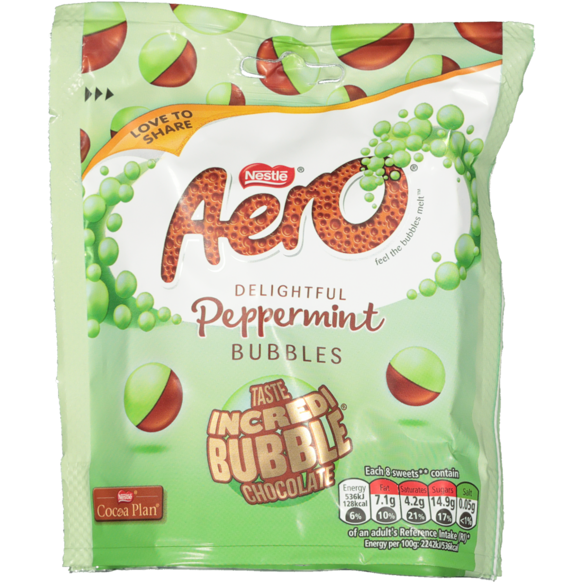 NESTLE AERO PEPPERMINT BUBBLES CHOC 102G